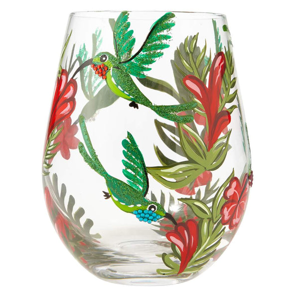 Hummingbird Painted Stemless Wine Glass