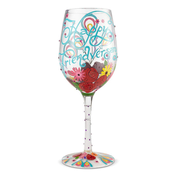 Happy Friendversary Painted Wine Glass