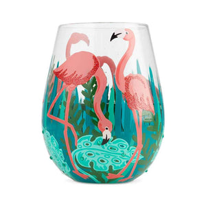Fancy Flamingo Painted Stemless Wine Glass