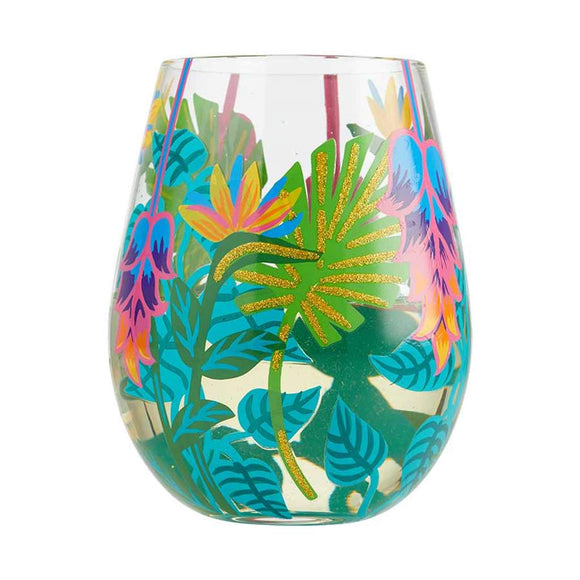 Tropical Vibes Painted Stemless Wine Glass