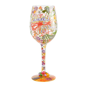 Thankful For Wine Painted Wine Glass
