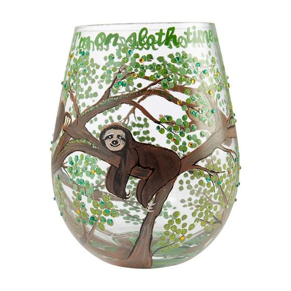Sloth Time Painted Stemless Wine Glass
