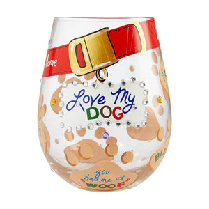 Lolita Love My Dog Painted Stemless Wine Glass