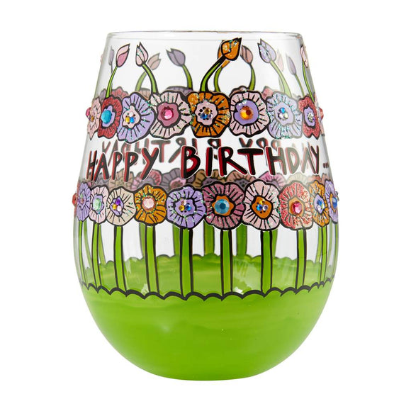 Birthday Flowers Stemless Wine Glass