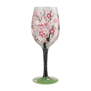 Cherry Blossom Painted Wine Glass