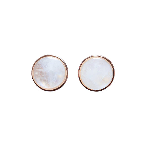 Esme Rose Gold Moonstone Stud Earrings