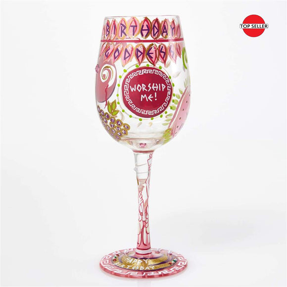 Birthday Goddess Painted Wine Glass