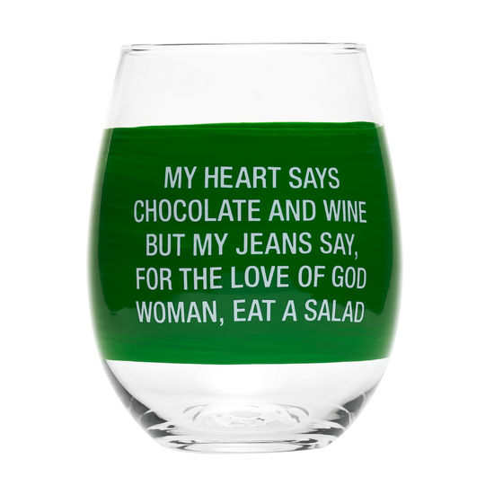 Eat A Salad Stemless Wine Glass