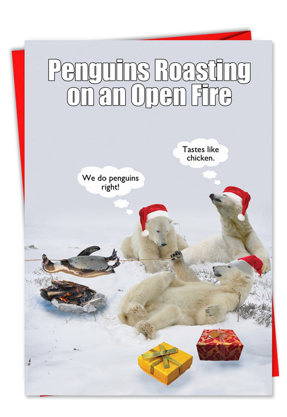 Penguins Roasting Christmas Card