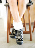 Pudus Classic Slipper Socks Geometric Black