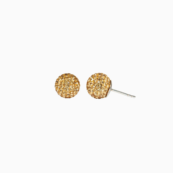 Gold Sparkle Ball Stud Earrings
