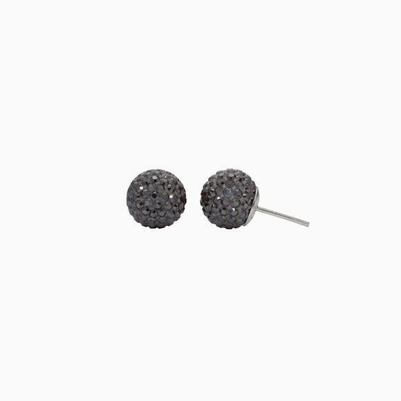 Hematite Sparkle Ball Stud Earrings