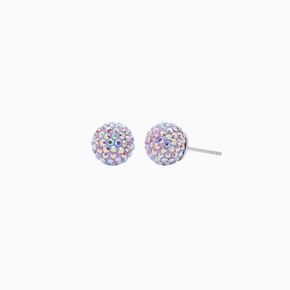 Lilac Sparkle Ball Stud Earrings