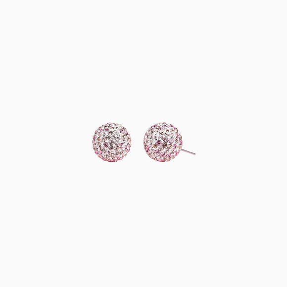 Pink Champagne Sparkle Ball Stud Earrings