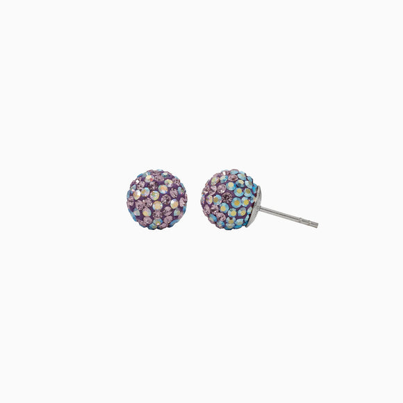 Purple Aurora Borealis Sparkle Ball Stud Earrings