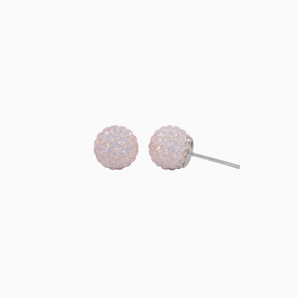 Rose Water Opal Sparkle Ball Stud Earrings