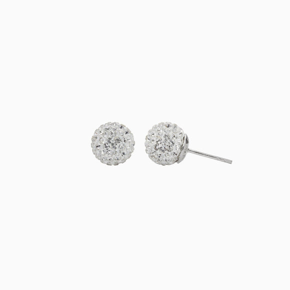 White Sparkle Ball Stud Earrings