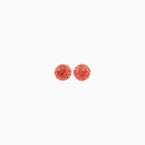 Coral Sparkle Ball Stud Earrings