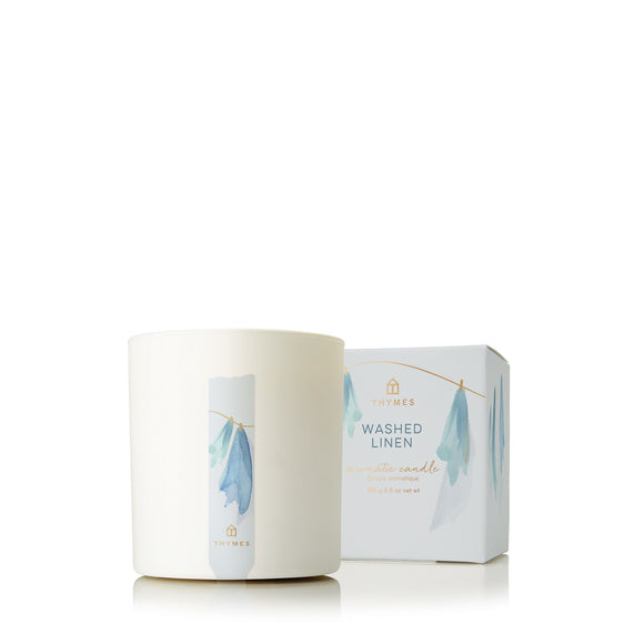 Thymes Washed Linen Aromatic Candle
