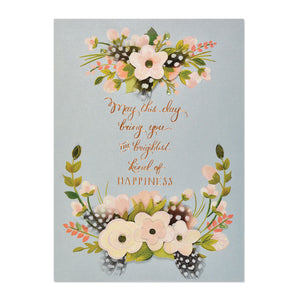 Feathers And Florals Birthday Card