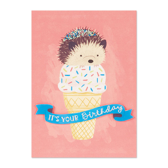 Hedgehog Ice Cream Card