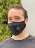 Adult Black Face Mask with Valve and Replaceable Carbon Filters