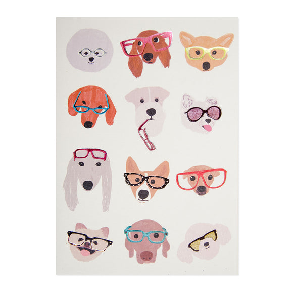 Dogs With Glasses Blank Card