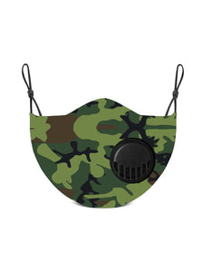 Adult Camo Face Mask with Valve and Replaceable Carbon Filters
