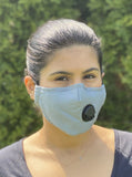 Adult Grey Face Mask with Valve and Replaceable Carbon Filters
