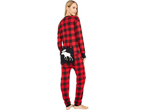 Moose On Plaid Adult Unisex Union Suit Pajamas