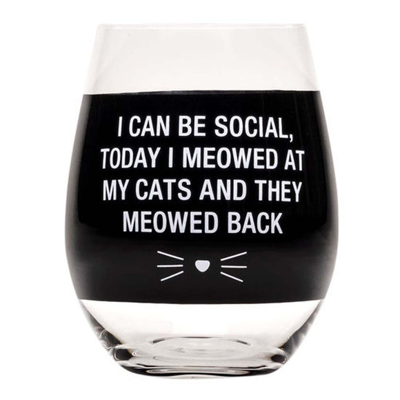 I Can Be Social Stemless Wine Glass