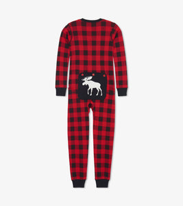 Moose On Plaid Kids Union Suit Pajamas