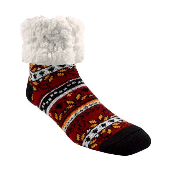 Pudus Classic Slipper Socks Autumn Red