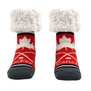 Pudus Classic Slipper Socks Hockey Red