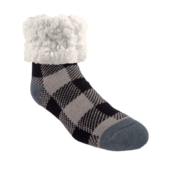 Men's 10-13 Pudus Classic Slipper Socks LumberJack Grey