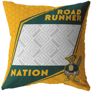 Roadrunners Modern Mascot Personalized Pillow