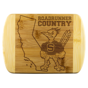 Roadrunners Modern Mascot Round Edge Wood Cutting Board