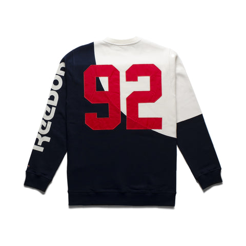 "Color blocked fleece crewneck sweatshirt with tackle twill ""92"" embroide... click for more information"