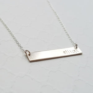 horizontal sterling silver name bar necklace