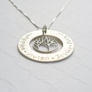 sterling silver mom's large washer necklace with kids' names and tree of life charm
