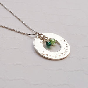 sterling silver mom washer necklace with kids' names and birthstones