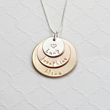 Load image into Gallery viewer, three-layer mixed metal necklace with sterling silver, rose gold, and yellow gold discs