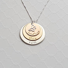 Load image into Gallery viewer, sterling silver, yellow and rose gold three-layer mixed metal mom necklace with kids' names and butterfly charm