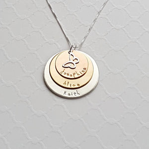 sterling silver, yellow and rose gold three-layer mixed metal mom necklace with kids' names and butterfly charm