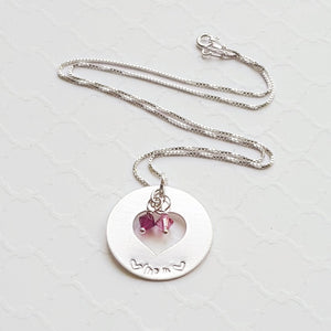 sterling silver mom washer necklace with birthstones