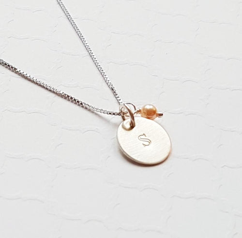 sterling silver tiny disc initial necklace with freshwater pearl
