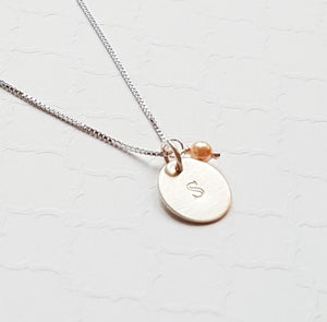 sterling silver initial disc necklace with pearl charm