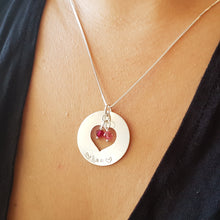 Load image into Gallery viewer, woman wearing sterling silver mom heart washer necklace with kids' birthstones