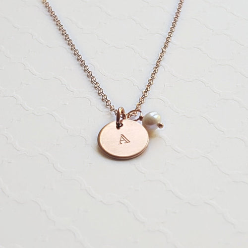 rose gold initial disc necklace with freshwater pearl