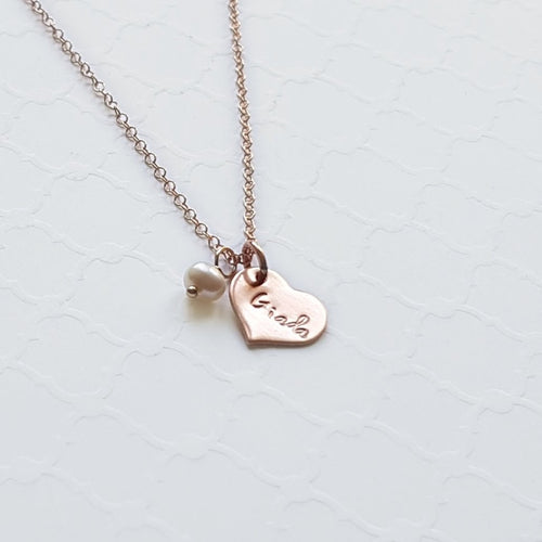 rose gold heart necklace with freshwater pearl